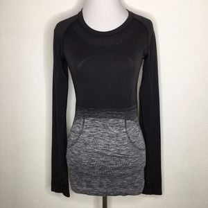 Lululemon Swiftly Tech Black Ombre Long Sleeve Top